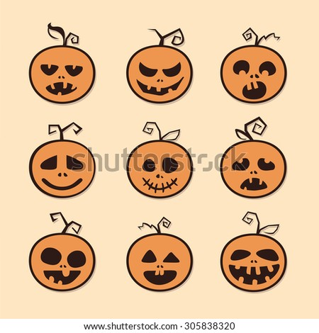Pumpkin icon set for Halloween. Flat vector illustrations
