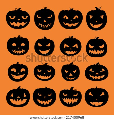 Pumpkin icons with scary faces. Vector halloween illustration. Horror creatures. Halloween party symbols.