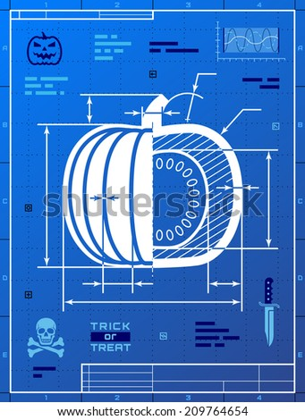 Pumpkin image like blueprint drawing stylized vectores en stock pumpkin image like blueprint drawing stylized drafting of squash on blueprint paper vector illustration malvernweather Choice Image