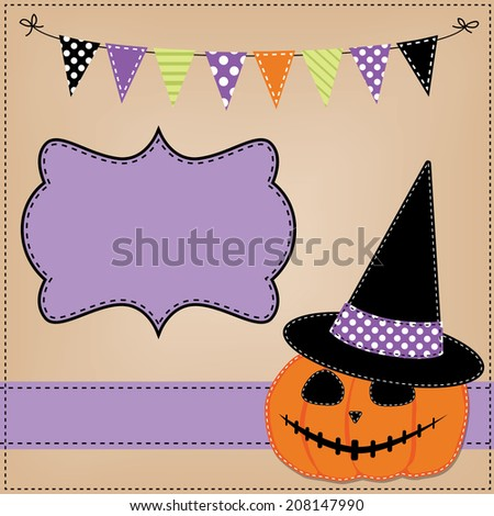 Pumpkin or jack o lantern and witches hat template or layout with bunting flags or banner, vector format