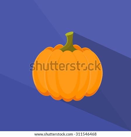 Pumpkin Orange Flat Logo Color Icon Vector Illustration - stock vector