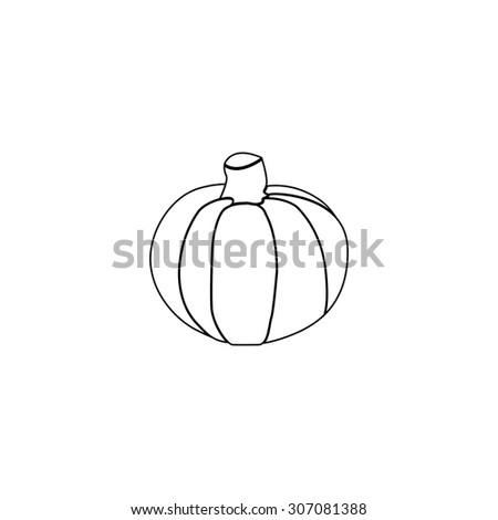 Pumpkin. Outline black simple vector pictogram - stock vector
