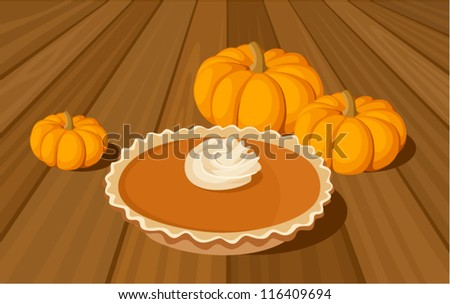 Pumpkin pie and orange pumpkins. Vector illustration. - stock vector