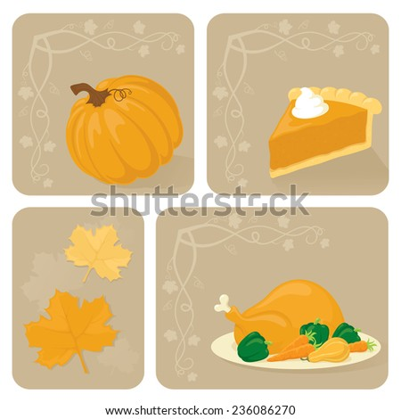 Pumpkin, pumpkin pie, maple leaves and turkey.