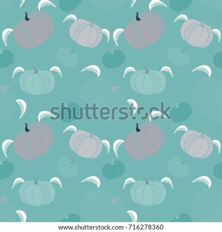 pumpkin seamless pattern cute fun halloween stock vector 716278360