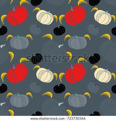 pumpkin seamless pattern cute fun halloween stock vector 723730366