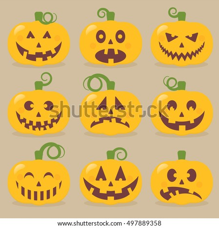 Pumpkin set. Batch of vector pumpkin face emotions, sad, cheerful, happy, worried, surprised and evil pumpkin.