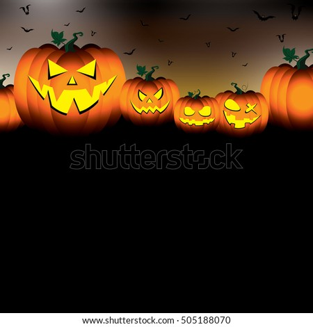 Pumpkin set scary face of Happy Halloween on black night sky background.