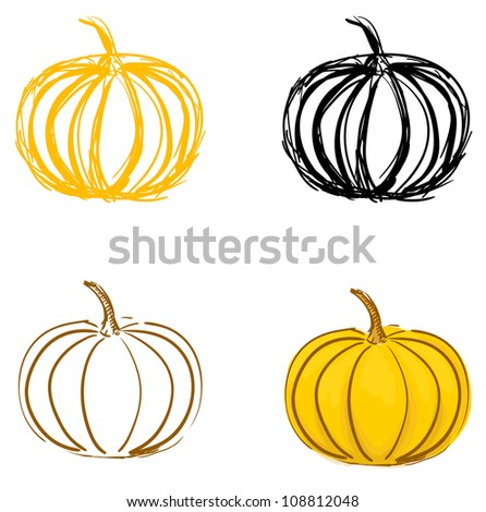 Pumpkin sketches set. Eps 10 vector illustration - stock vector