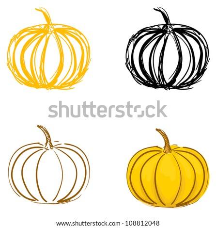 Pumpkin sketches set. Eps 10 vector illustration - stock vector