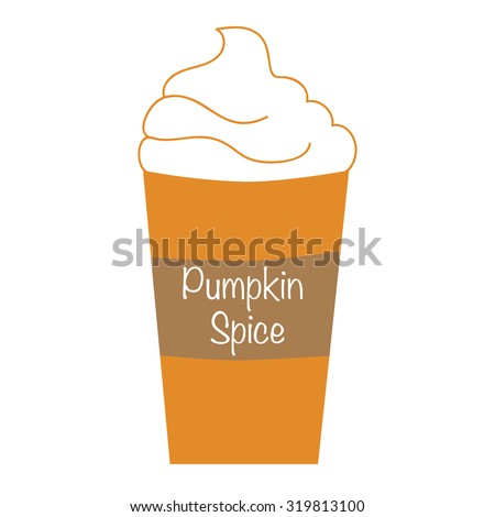 Pumpkin Spice Whipped Latte - stock vector