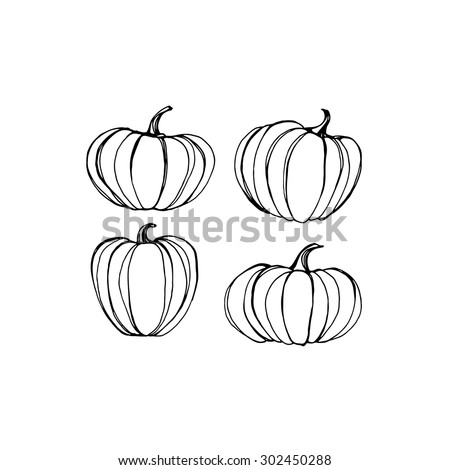 Pumpkin. Vector black silhouette. - stock vector