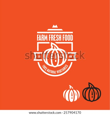 Pumpkin vector icon. Pumpkin vegetable label. - stock vector