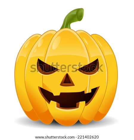 pumpkin with an evil expression on his face  - stock vector