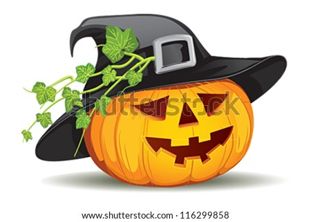 Pumpkin with hat - stock vector