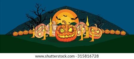 pumpkins on Halloween day - stock vector