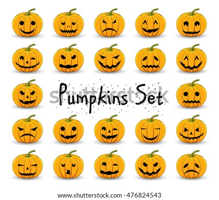 Pumpkins set for Halloween on a white isolated background.