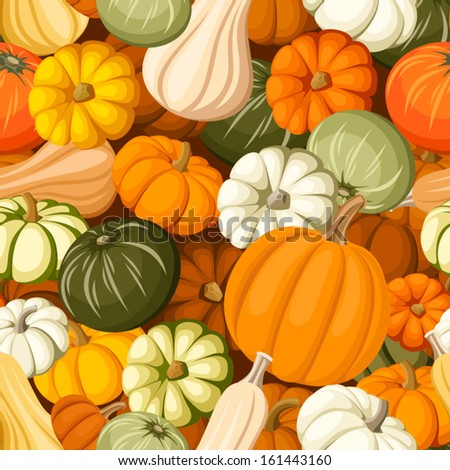 Pumpkins. Vector seamless background. - stock vector