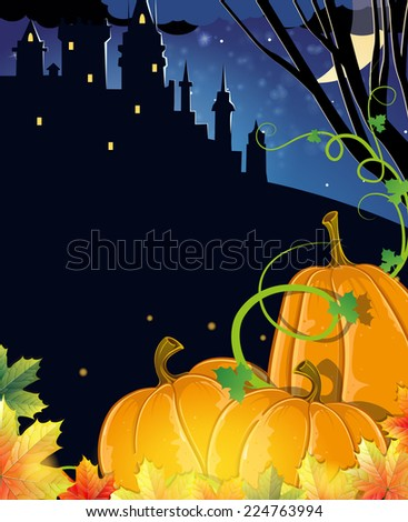 Pumpkins with autumn leaves near the old haunted castle. Halloween night scene  - stock vector