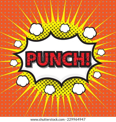 PUNCH, comic wording sound effect set design for comic background, comic strip