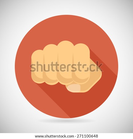 Punch Fist Hand Palm Icon Social Power Courage Determination Symbol Concept Flat Design Vector Illustration - stock vector