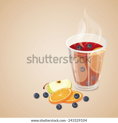 Punch. Hot drinks icon. Vector illustration with mulled wine - stock vector