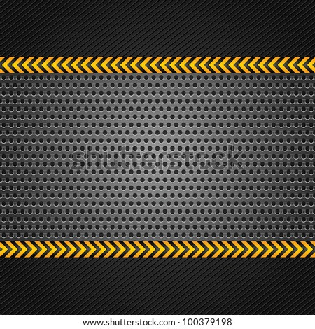 Punched metal gray surface, template - stock vector