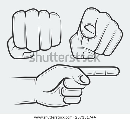 Punching fist, hand with index finger pointing at the viewer and side view pointing hand  - stock vector