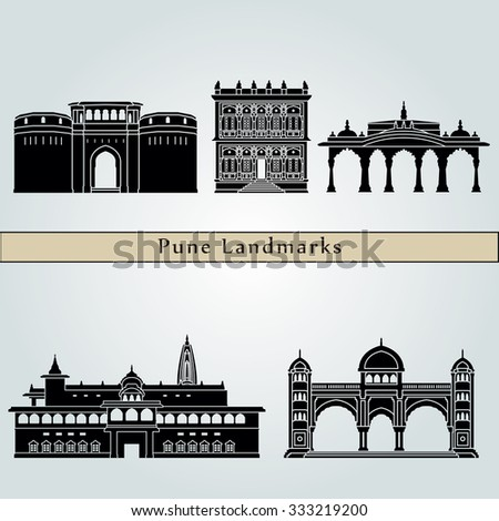 Pune landmarks and monuments isolated on blue background in editable vector file - stock vector