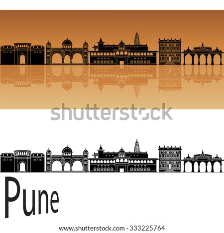 Pune skyline in orange background in editable vector file - stock vector