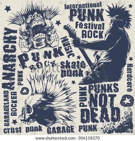 punk not dead set, hand drawn characters, words and design elements. vector illustration.