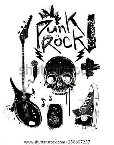 Punk Rock Elements. Vector set