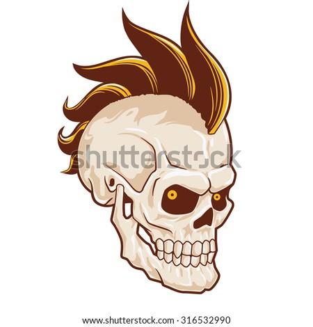 Punk skull with mohawk on head. - stock vector