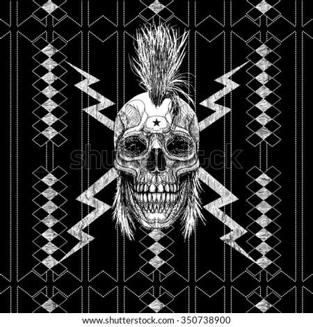 punk t shirt graphic  - stock vector