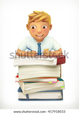 Pupil and school textbooks. Little boy cartoon character. Vector icon