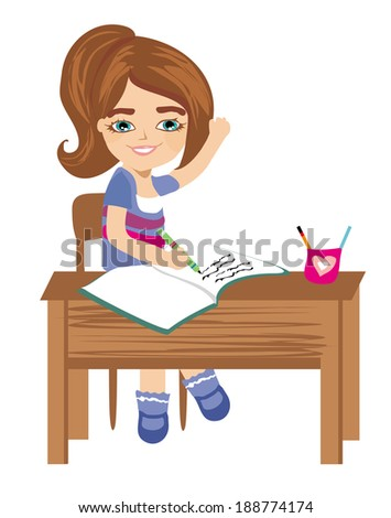Pupil knows the answer and puts her hand up  - stock vector