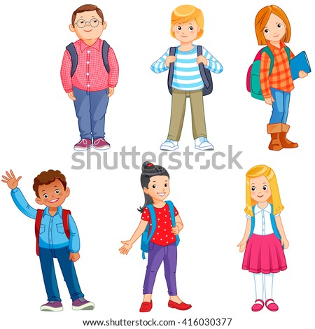 pupils with school backpacks