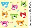 puppy cat wallpaper - stock vector