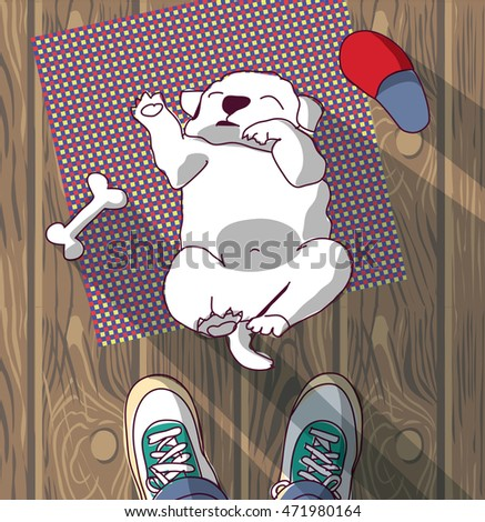 Puppy cute rest sleep on the floor and owner. Color vector illustration. EPS8