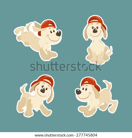 Puppy dog character design set - stock vector