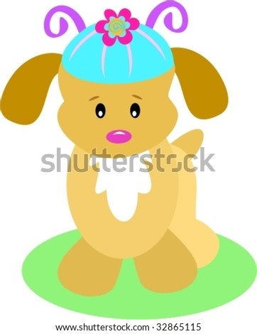 Puppy Dog with a Cute Hat Vector