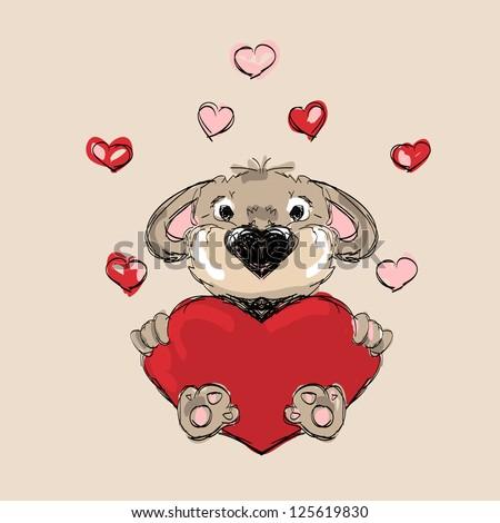 Puppy in Love - stock vector