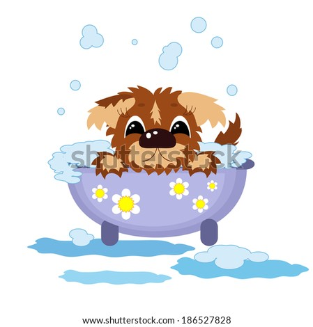 Puppy in the bath . - stock vector
