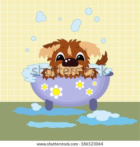 Puppy in the bathroom - stock vector