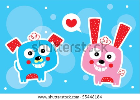 puppy loves bunny - stock vector