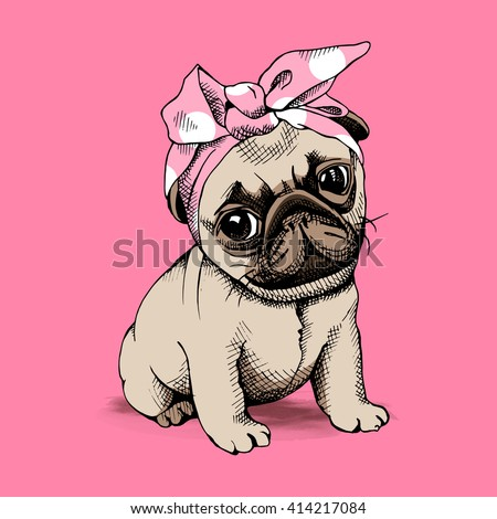 Puppy Pug in a Headband on pink background. Vector illustration. - stock vector