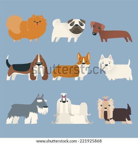 Puppy Pure Breed Exhibition Dog Pet Kennel Pup Whelp Mascot, with nine dogs of different breeds standing looking at camera vector illustration cartoon.  - stock vector
