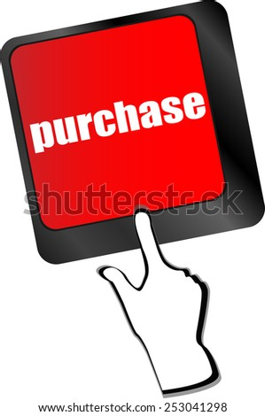 purchase key in place of enter keyboard button - stock vector