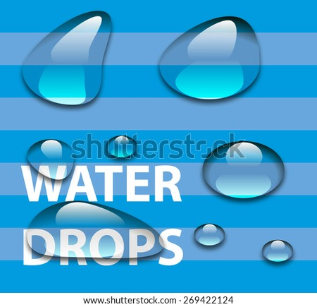 Pure clear water drops realistic set isolated. vector illustration - stock vector