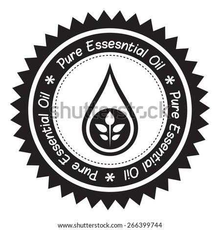 Pure essential oil product label (Black and White). - stock vector